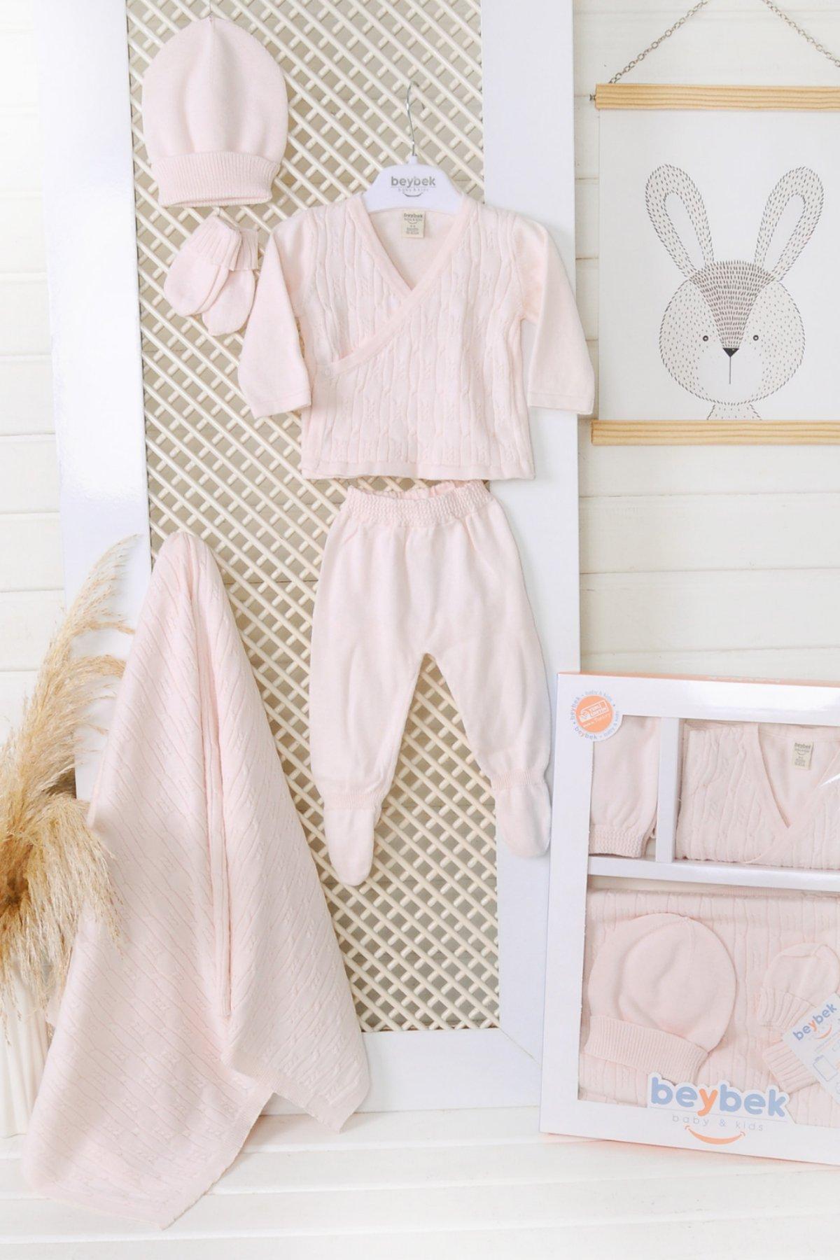 Kruvaze Set-Pink/Pembe   0-3 Month %100 Cotton