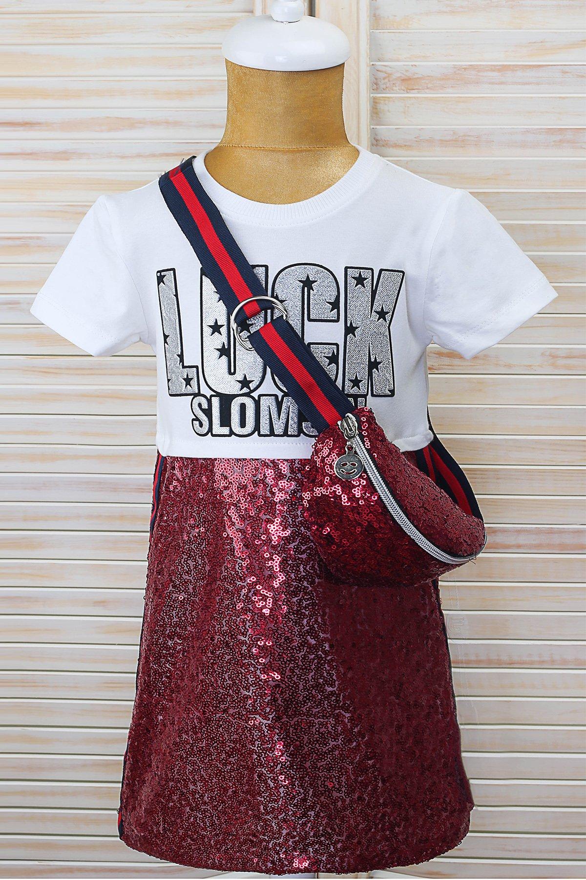 Çantalı Payetli Elbise