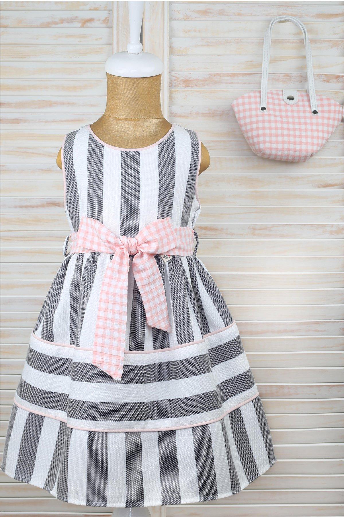Çizgili Kemerli Çantalı Krep Elbise