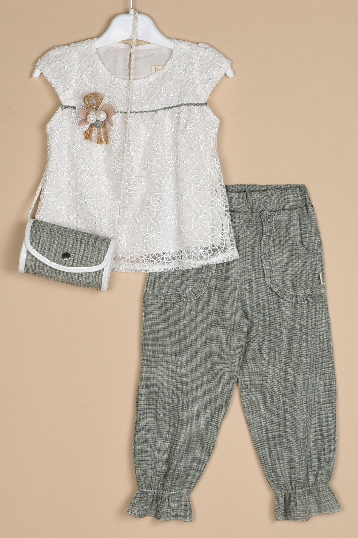 Keten Pantolon Brode Bluz Çantalı Takım