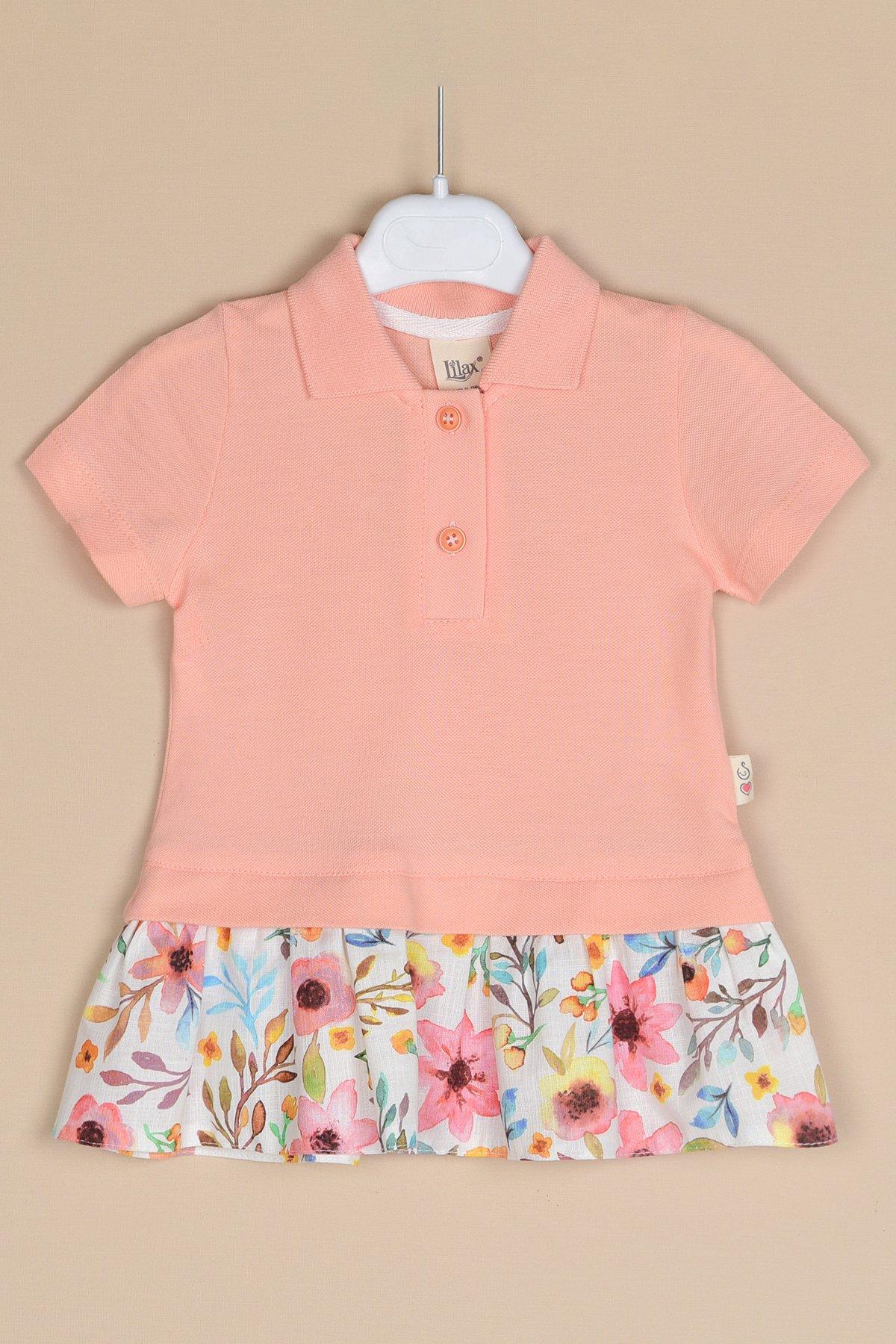 Eteği Çiçekli Lacoste Elbise