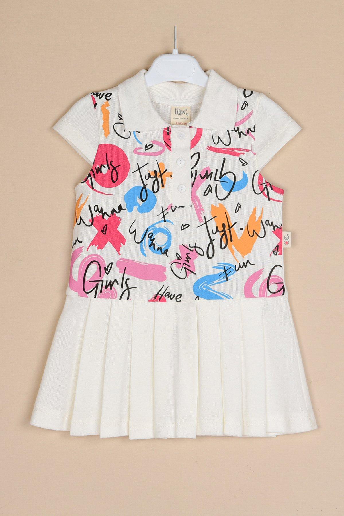 Baskılı Pileli Lacoste Elbise